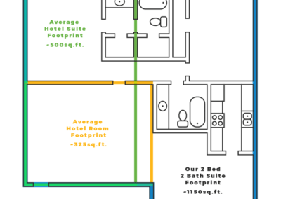 Floorplan of a two bedroom two bath